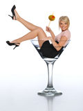 Young Blond In A Martini Glass Royalty Free Stock Photo