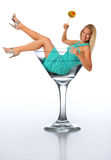 Young Blond In A Martini Glass Stock Photos
