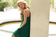Young blond lady posing outdoor Royalty Free Stock Image