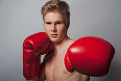 Young blond man with boxing gloves Stock Images