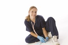 Young blond in medical scrubs Stock Photo