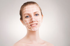 Young blond model portrait with skin surgery marks isolated. Blond model portrait with skin surgery marks isolated Stock Photos