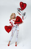 Young blond sexy woman with balloons Royalty Free Stock Photo