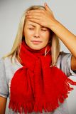 Young blond sick woman Stock Image
