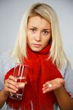 Young blond sick woman Stock Photos