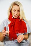 Young blond sick woman Royalty Free Stock Photos