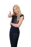 Young blond student with thumbs Royalty Free Stock Photos