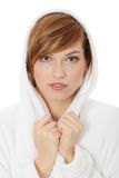Young blond teen woman in bathrobe Royalty Free Stock Photography