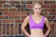 Young blond wearing exercise top Royalty Free Stock Photography
