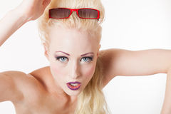Young blond woman aggressive look Royalty Free Stock Images