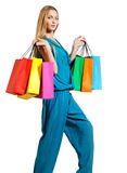Young blond woman with bags Stock Photo