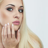 Young blond woman.Beautiful Girl.close-up fashion portrait Royalty Free Stock Photos