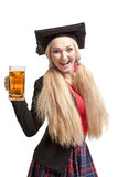 Young blond woman with beer mug Stock Photography