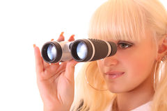 Young blond woman with binocular Stock Photos