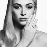 Young blond woman.black and white Beautiful Girl Royalty Free Stock Image