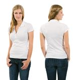 Young blond woman with blank white polo shirt Royalty Free Stock Images