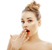 Young blond woman with bright make up smiling Royalty Free Stock Image