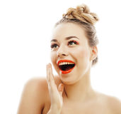 Young blond woman with bright make up smiling Stock Images