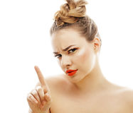 Young blond woman with bright make up smiling Stock Photos