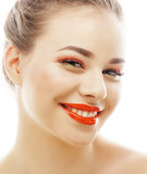 Young blond woman with bright make up smiling Royalty Free Stock Photography