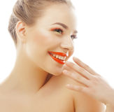 Young blond woman with bright make up smiling Royalty Free Stock Photo