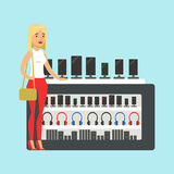 Young blond woman choosing a new mobile phone at appliance store colorful vector Illustration Royalty Free Stock Images