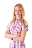 Young blond woman in a classic pink shirt Royalty Free Stock Photo