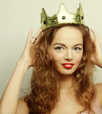 Young blond woman in crown Stock Image