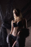 A young blond woman in dark lingerie and fur Royalty Free Stock Images
