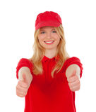 Young blond woman dressed dealer with red uniforms saying Ok Stock Photography