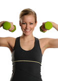 Young Blond Woman with dumbbells Stock Photo