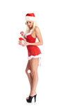 A young blond woman in erotic Christmas lingerie Stock Photos