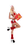 A young blond woman in erotic Christmas lingerie Stock Photography