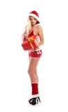 A young blond woman in erotic Christmas lingerie Stock Photo
