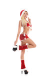 A young blond woman in erotic Christmas lingerie Royalty Free Stock Photos