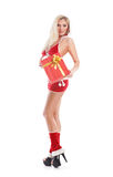 A young blond woman in erotic Christmas lingerie Royalty Free Stock Image