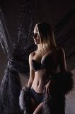 A young blond woman in erotic lingerie and fur Stock Photography