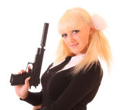 Young blond woman with gun Stock Images
