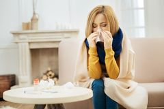 Young blond woman having fever and running nose. Under the weather. Ill young blond woman feeling bad and blowing her nose while having a blanket on her Stock Photos