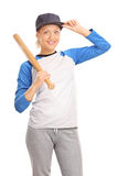 Young blond woman holding a baseball bat Royalty Free Stock Photos