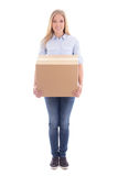 Young blond woman holding cardboard box isolated on white Stock Photos