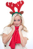 Young blond woman with horns Stock Image
