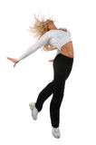 Young Blond Woman Jumping Royalty Free Stock Photography