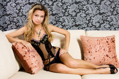 Young blond woman in lingerie Stock Photo