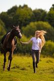 Young blond woman with long hair jockey rider jumping on a bay horse. On a background of field and forest stock photos