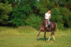 Young blond woman with long hair jockey rider jumping on a bay horse. On a background of field and forest stock photo