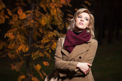 Young blond woman in a night autumn forest Stock Photography