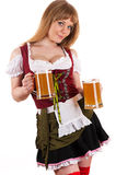 Young blond woman with Oktoberfest beer Royalty Free Stock Photo