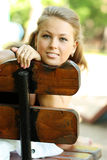 Young blond woman. Young woman on outdoor background Stock Photo