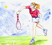 Athlete woman tennis player hits the ball by racket on the court. Young blond woman playing tennis, hand painted watercolor sport illustration Royalty Free Stock Photos